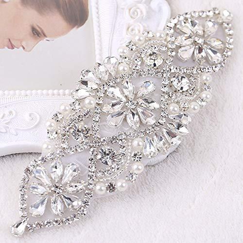 Yetta Home Strass Braut Hochzeit Strumpfbänder Kopfbedeckungen Applique Patch mit Kristallen Perlen Jeweled Pailletten Diamant Verzierungen für Brautjungfer Kleid Kleid Schärpe Gürtel -