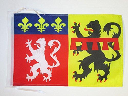 FLAGGE DÉPARTEMENT RHÔNE 45x30cm mit kordel - RHÔNE FAHNE 30 x 45 cm - flaggen AZ FLAG Top Qualität