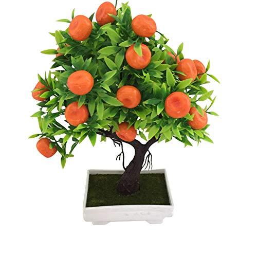 Saniswink 1 Stück künstlicher Orangenbaum Bonsai-Topfpflanze Landschaft Party Zuhause Garten Dekoration, plastik, 1