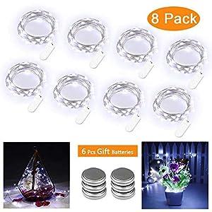 Qedertek 8er LED Lichterkette Batterie, Weiss Flaschenlicht mit 3M 30 LED Silberdraht für Party, Garten, Weihnachten, Hochzeit, Beleuchtung Deko (Kommen mit 6 Ersatzbatterien)
