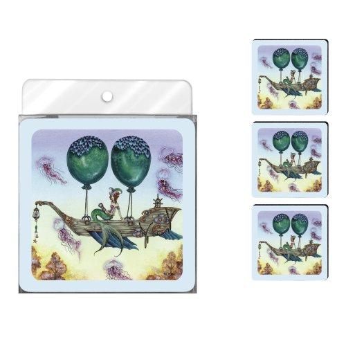Tree-Free Greetings nc37586Amy braun Fantasy 4er Pack Künstlerische Untersetzer Set, Dreaming auf Aquamarin Tides - Aquamarin Seife