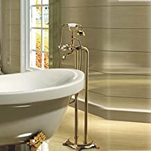 """Freistehende Badewanne Armatur befestigt, tippen Sie auf """"& Dusche Badewanne Wasserfall Auswurfkrümmer Gold Finish, Hellgrau"""