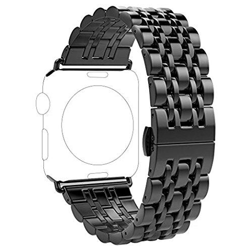 Preisvergleich Produktbild Für Apple Watch Armband 42mm Schwarz Rosa Schleife Edelstahl Metall Apple iWatch Armband Uhrenarmband Replacement Strap Armbänder mit Metallschließe für Apple Watch Sport & Edition Alle Versionen (nur für alle 42mm Versions)