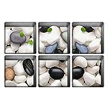 MagiDeal 6er-Set 3D Anti-Rutsch Badematte Aufkleber für Duschen und Badewanne - Kieselstein-Bun