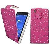 Gadget Boxx - Funda Abatible de Cuero Sintético con Diseño Floral de Brillantina Color Rosa Compacta para Sony Xperia Z3