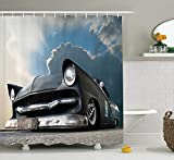KRISTI MCCARTNEY Manly Decor Collection, Custom Made Matt Show Car and Dramatic Sky Clouds Broken Classics Cloudscape, Polyester Fabric Bathroom Shower Curtain Set with Hooks, Dark Grey Iridium White