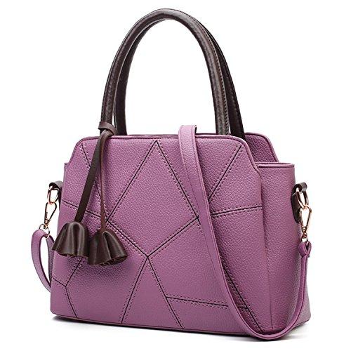Damen Henkeltaschen PU-Leder Schultertasche Messenger Muße Umhängetaschen Clutch Handgelenkstaschen Handtasche Damen Violett