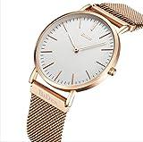 Unisex Armbanduhr Herren Damen Uhr Edelstahl Magnetische Mesh Armband Uhren Männer Wasserdicht Analog Quarz Mode Klassisch Dünn Armbanduhr (Gold)