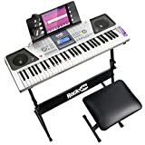 Rockjam Rj661-Sk Super Kit 61 Toetsen Lcd Elektronisch Lestoetsenbord Met Standaard, Kruk En Hoofdtelefoon, Grijs