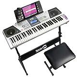 RockJam RJ661 Piano Kit 61 Tastiera, 61 chiave pianoforte digitale, Tastiera Panchina, stand tastiera, cuffie, pianoforte nota adesivi e Semplicemente Piano Applicazione