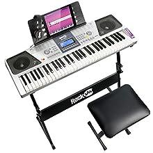 RockJam RJ661-SK 61 Keyboard Piano Kit 61 Key Digital Piano Keyboard Bench Keyboard Stand Headphones Piano Note Stickers and Simply Piano Application