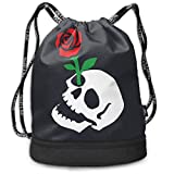 MLNHY Skull Rose Riot Society Multifunctiona Drawstring Sport Backpack Foldable Sackpack