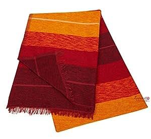 plaid marocain couvre lit en laine cotton et soie tiss la main rouge d grad. Black Bedroom Furniture Sets. Home Design Ideas