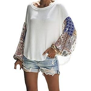 TPulling Damen Großer Oberteil, Frauen Herbst Großer Langarm Pullover Lose Farbabstimmung Stitching Oberseiten Weste Lässige T-Shirt Camisole Tank Tops Bluse Shirt