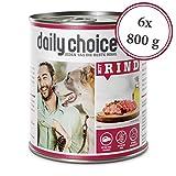 daily choice   6 x 800 g   Nassfutter für Hunde   getreidefrei   Mit Rind   70% Frischfleisch- und Innereienanteil Optimale Verträglichkeit