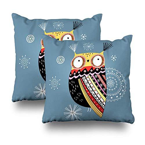 Satz von 2 dekorativen Kissen Fall Throw Pillow Covers für Couch Indoor Bett, Ziereule weiß schwarz Weihnachten Kunst rot blau Winter Beauty Home Sofa Kissenbezug Kissenbezug Geschenk 45 X 45 cm -