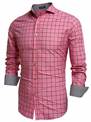 Burlady Herren Langarm Hemd Baumwolle Ein Kariertes Hemd L,  Rosa-1 (Rosa Karierte Hemd Herren)