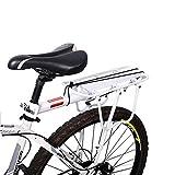 Fahrrad Gepäckträger Sattelstütz Für Fahrrad Mountainbike MTB Aluminium Fahrrad-Gepäckträger Hinten mit Reflektor(weiß)