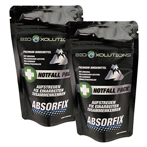 Absorfix Notfallpack fürs Auto | Geruchsentferner und natürliches Bindemittel für alle Flüssigkeiten | Absorbiert Erbrochenes, Urin, Öl, Benzin, Speisereste, Getränke, UVM. (2 x 25g)