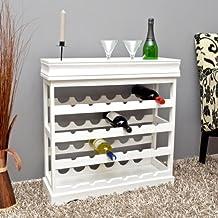Botellero de madera blanca para 24 botellas de vino