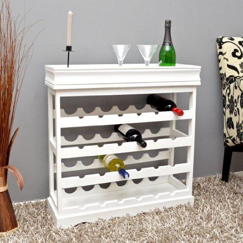 Weinregal Weiß für 24 Flaschen Flaschenregal weißes Holz