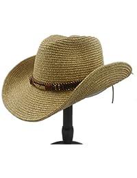 Fucaiqian Sombreros Sombrero Unisex Summer Straw Hollow Sombrero Occidental  de Vaquero con Cuero de Popular para Hombres Mujeres (Color… 2138e836a24