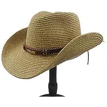 YongYeYaoBEN Unisex Cappello Estivo Paglia Hollow Western Cappello da  Cowboy con Moda in Pelle per Donne 97ea719f99bf