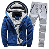 Riou Herren Strickjacke Cardigan Beiläufige DünneStrickpullover mit Kapuze Kapuzenpullover Pullover Männer Hoodie Winter warme Fleece Zipper Sweater Jacke Outwear Mantel (3XL, Blau B Set)