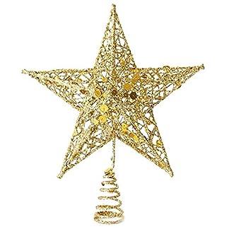 CHENZHAOL Adorno de árbol 1 unid 20 cm año Nuevo Adornos de árbol de Navidad Estrella Oro Rojo Plata Metal Estrellas decoración Manualidades Regalos Fiesta Fiesta Suministros (Color : GD)