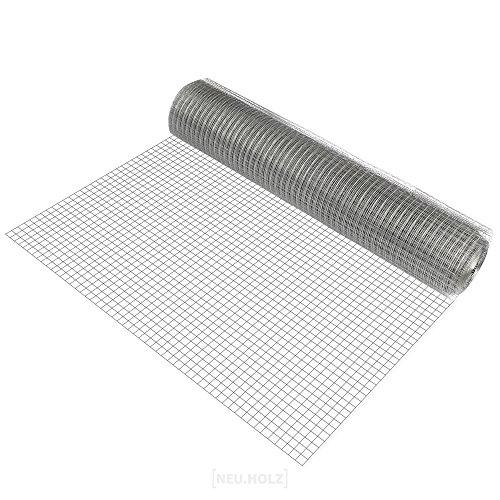 [pro.tec] 1 rotolo di rete metallica (maglia quadra)(1m x 25m)(zincata) Rete elettrosaldata Rete per voliere Rete metallica Recinzione