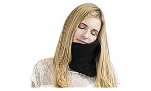 Trtl Pillow - Scientifically Proven Super Soft Neck Support Travel Pillow - Machine Washable Black