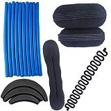 Majik Combo Of 17 Hair Accessories Hair Puff +Clip Hair Base+ Set Of Stick Rollers+ Braids Tools+ Banana Donut