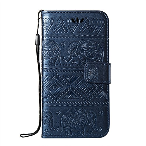 Bright Elephant Embosseing Pattern PU Ledertasche Horizontale Flip Stand Brieftasche Tasche mit Lanyard & Card Slots für iPhone X ( Color : Red ) Blue