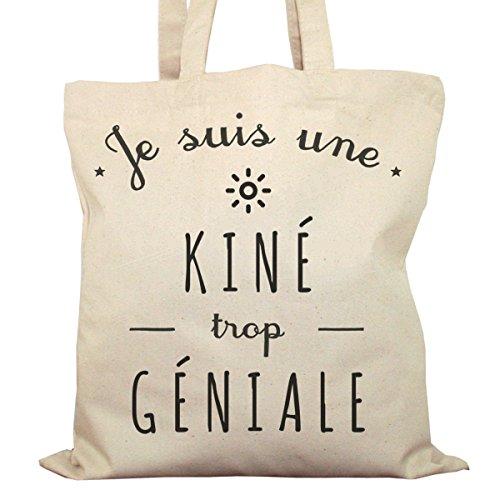 Tote Bag Imprimé Ecru - Toile en coton bio - Je suis une Kiné trop géniale