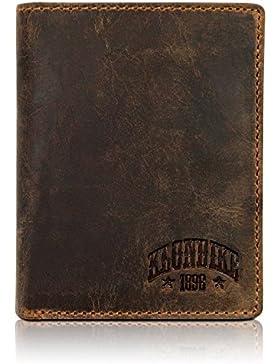 Klondike 1896 Cartera de cuero auténtico 'Evan' en formato vertical, elegante monedero de cuero para hombres,...