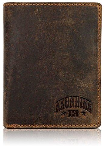Klondike 1896 Portamonete 'Evan' in vera pelle in formato verticale, portafoglio elegante in pelle per uomo e donna, marrone