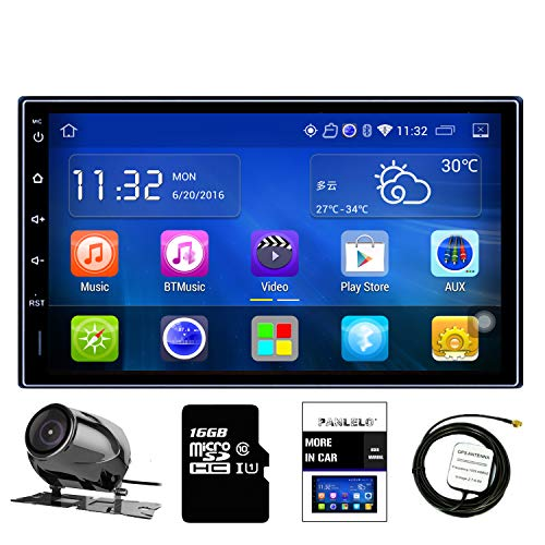 Panlelo Android Touchscreen Autoradio Rückfahrkamera 7 Zoll 2 Din Einbaut-Videogeräte Quad Core1G RAM + 16G ROM+16G SD Karte FM/AM/RDS Radio WiFi Multimedia Player Mirror Link GPS Navigation