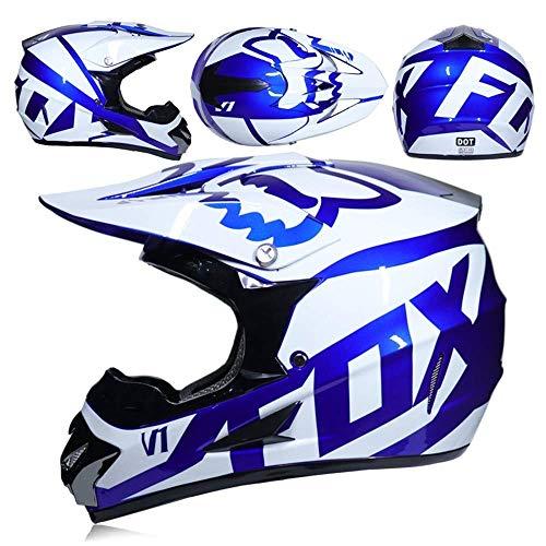 201907302323 Protezione per Gli Sport all'aperto Motocross Casco e Occhiali da Regalo Maschera Guanti Fox Moto Racing Casco Generale Uomini e Donne (Color : Pink, Size : L)