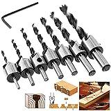Versenken Bohren Bit Einstellen, 4EVERHOPE 8 Stücke HSS 5 Flute Senker Bohrer Set Screwdriver Reibahle Holzverarbeitung Countersink Drill Werkzeug 3-10mm
