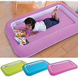 (Blue) - Parkland Kid's Children's Inflatable Safety Flocked Kiddy Airbed Toddlers Camping Air Beds Soft Comfortable Fun Colourful Guest Sleepover