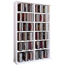"VCM Torre para CD/DVD para ""Ronul"" blanco, 300 CDs, sin puerta de cristal."