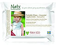 (Pack of 12) : Naty by Nature Babycare Flushable Family Wipes 220g (Pack of 12)