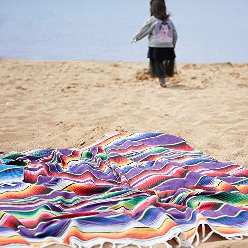 ZHJS Europa und die Decke aus Baumwolle Mexiko Strand Indianer Regenbogen Decke Home tapisserien Beach - Matte Picknick. 480 Gramm/Lila Teppich - Mexiko