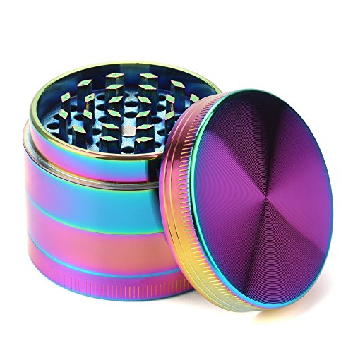 Fancyli Rainbow Grinder, Multi-Color 4 Pieces Herb Grinder with a Cleaning Brush (50X40MM)