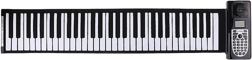 Baoblaze Tragbares 61 Tasten Roll-Up Klavier Handrolles Rollpiano Musikinstrument
