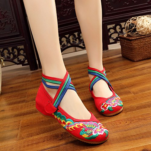 Zhhlaixing Unique Chinese Style Soft Sole Shoes Womens Ethnic Style Cloth Shoes red