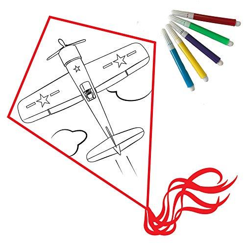 Drachen basteln: Einleiner Kinder Set zum selber gestalten und ausmalen (Flugzeug)
