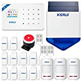 KERUI W18 Wireless WIFI+GSM Burglar Home Security Alarm System DIY Kit Auto Dial 1PCS Wireless Waterproof Outdoor Solar Siren IOS/Android APP Control Complete Home and Business Security