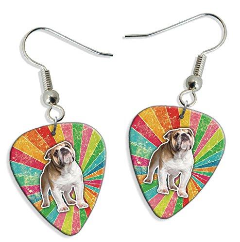 Bulldog Rainbow 2 X Logo Gitarre Plektrum Pick Ohrringe Earrings (GD) (Bulldog-gitarre)