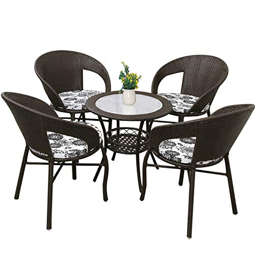 seeksungm Chair, table, Home PE rotin Woven Chair, Eco-Friendly Leisure Table And Chair Set, Suitable for Home/Garden (Dark Coffee Color 1 table 4 Chairs)